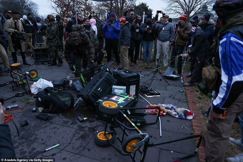 Some of the equipment that was left destroyed was branded Associated Press while reports on social media said Fox News - once Trump's favorite outlet - had also been targeted