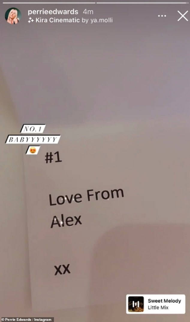 Blunder:Perrie also showed off the note from the footballer, 27, which read: '#1 Love From Alex xx', before swiftly deleting the video