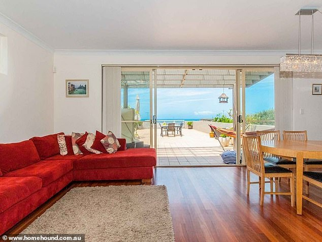 Ocean vista: Pat's three-bedroom, purchased in 2013 for $1,362,500 according to the property's sale history on realestate.com.au, features views that look out to the Pacific Ocean