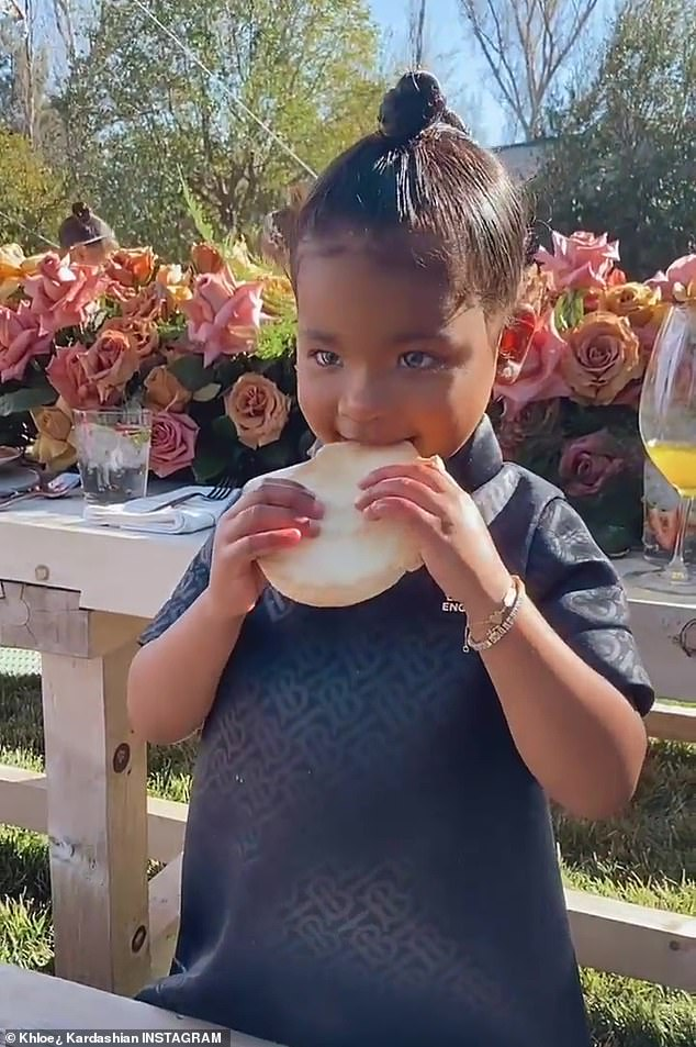 Adorbs:Kim's little sister Khloe Kardashian also posted clips from the occasion, making sure to include her daughter True Thompson