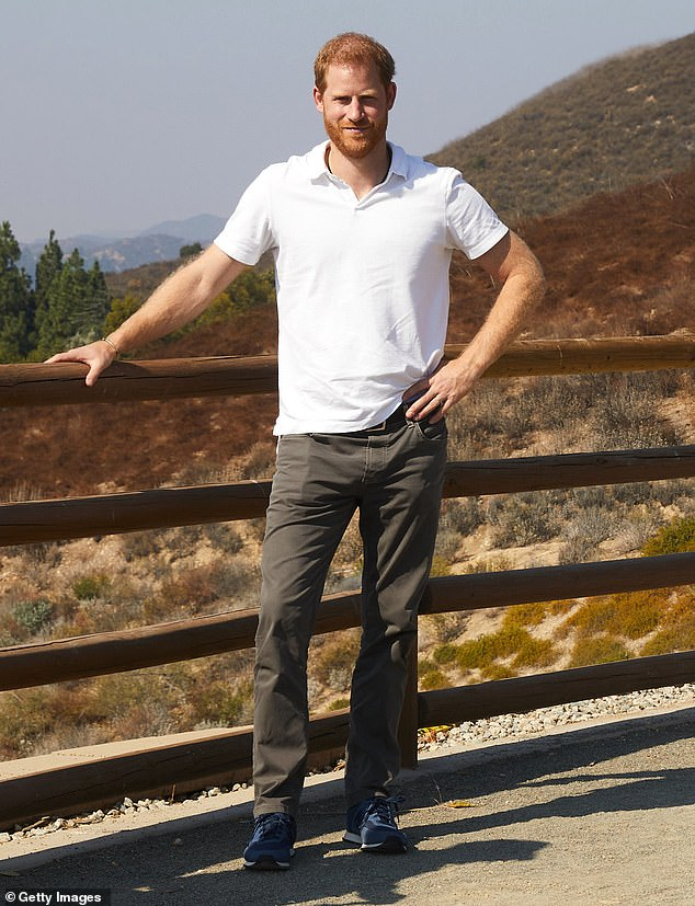 Using his royal status, he could have been a pivotal figure rallying the troops and NHS workers, helping to organise vaccine deliveries and solve other logistical problems — like Brigadier Prosser, a reassuring presence we would all be proud of. Pictured: Prince Harry shows his support for the 2020 Virgin Money London Marathon on October 3, 2020, in Los Angeles