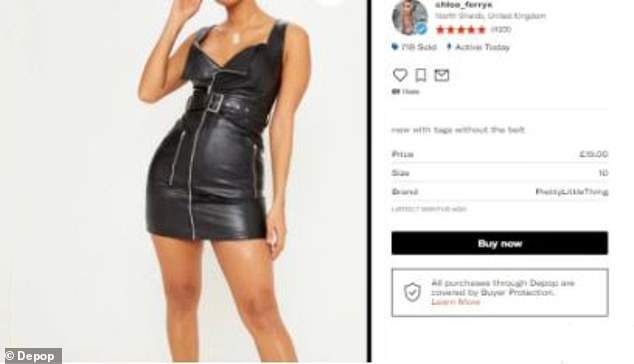 New?Chloe was selling a black PVC PrettyLittleThing mini dress on her page for £15 and described it as 'new with tags', but previously wore the same style dress during a night out