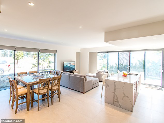 Natural light: Photos from a similar property on the development show a bright open dining and living room perfect for entertaining guests
