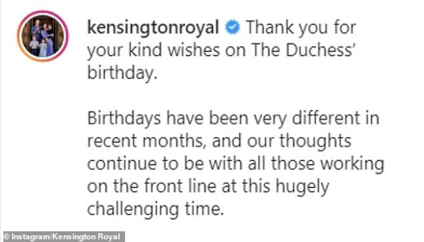 The message (pictured) was wearing and waving a face mask with a picture of Kate that was taken while she and William spent three days in December thanking key activists for their efforts during the coronovirus epidemic For the royal train visited the country.