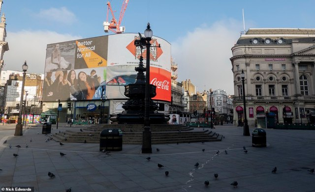 Piccadilly Circus was empty this morning after Mayor Sadiq Khan declared a major incident in London during the third Covid lockdown
