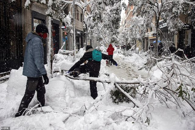 People clamber over fallen trees and installed Christmas decorations which have broken under the weight of the record snowfall in Madrid