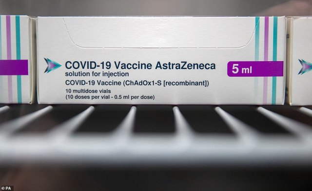 Boxes of vials of the AstraZeneca Covid vaccine in a fridge at Ashton Gate Stadium in Bristol, which is one of seven mass vaccination centres which will open on Monday next week