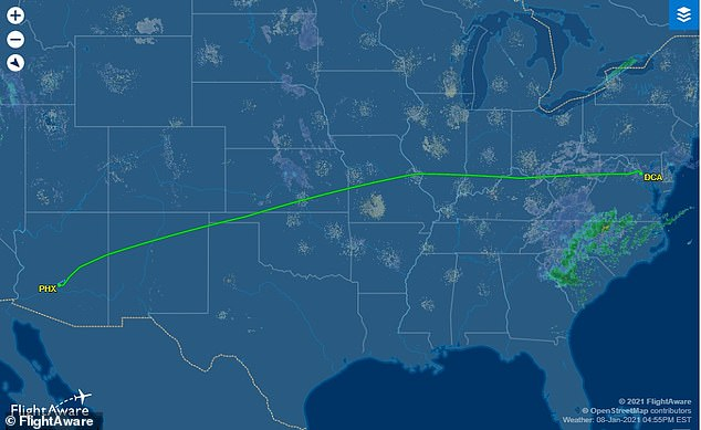 Flight data shows that the plane departed Reagan National Airport on time on Friday and landed at Phoenix Sky Harbor a few minutes ahead of schedule