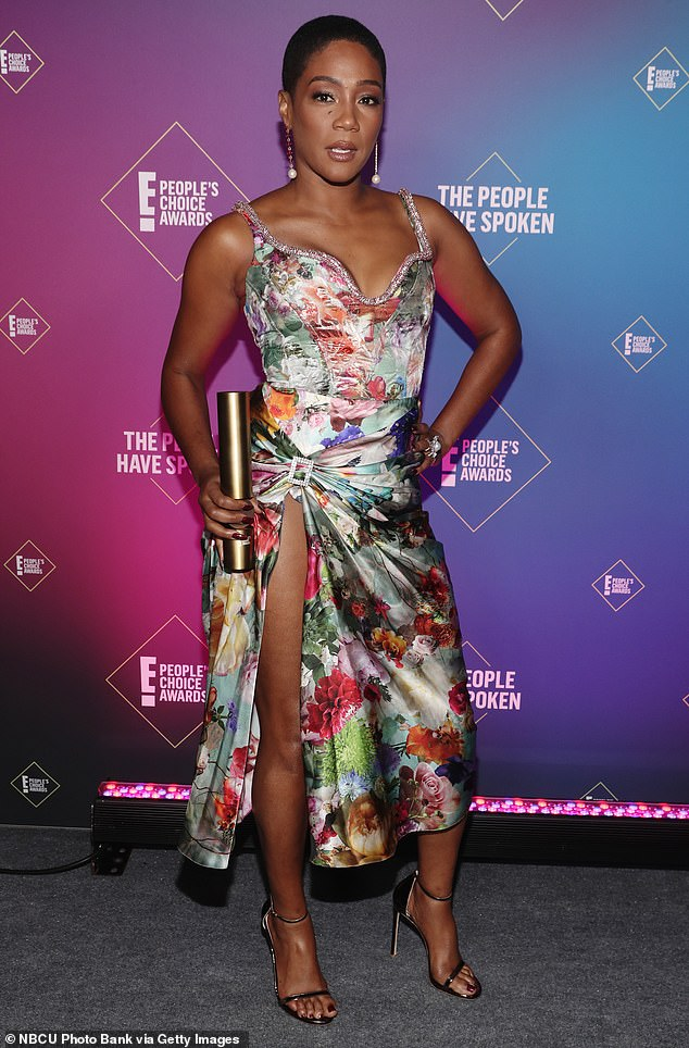 Lending a hand: Tiffany Haddish made a donation of over 100 suitcases to a foster care department in Indiana this past holiday season: she is seen at the E! People's Choice Awards in 2020