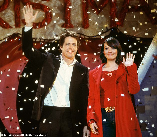 Sneaky: After her unveiling, Martine revealed that her statement was in fact a nod at her role as Natalie in Love Actually, where she acts as a secretary to Prime Minister David, played by Hugh Grant (pictured in film still), where she also meets with US president (Billy Bob Thornton)