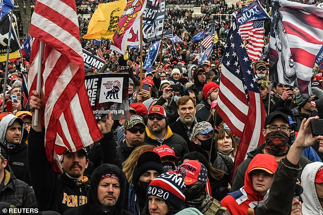 The Seattle cops - who were off duty at the time - will be 'immediately' terminated if they were found to have been directly involved in the violence (stock image of Trump supporters at Wednesday's rally)
