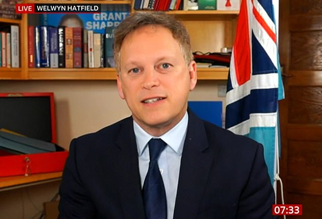 Transport Secretary Grant Shapps (pictured) will introduce new laws this week that will require travelers to test negative 72 hours before boarding a plane, boat or train to the UK, with fines of £ 500 for those breaking the rules.