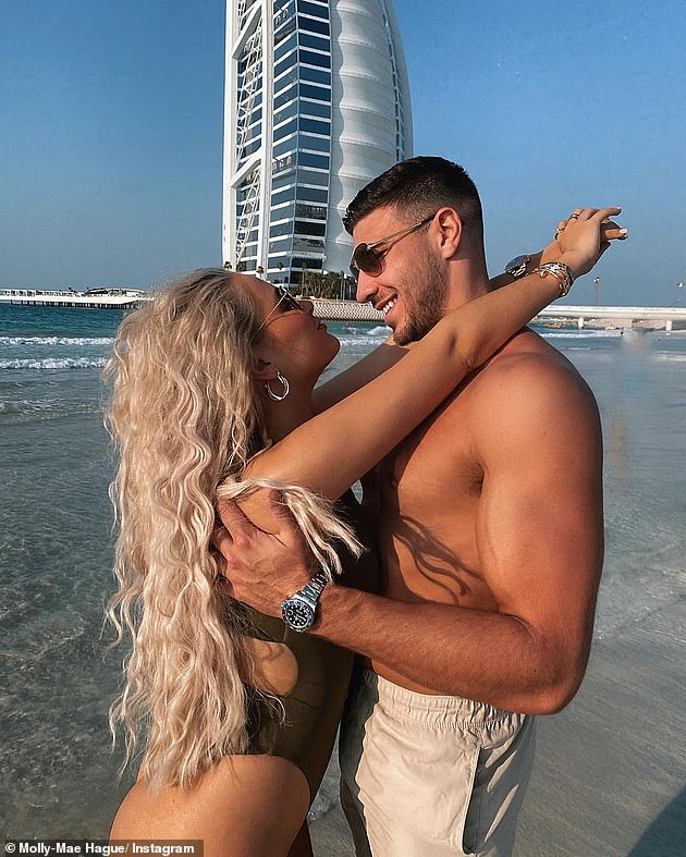 Pictured: Molly-Mae Hague and Tommy Fury, star of Love Island in Dubai last month, there is no evidence to suggest they are the reality stars referred to as receiving 'death threats'