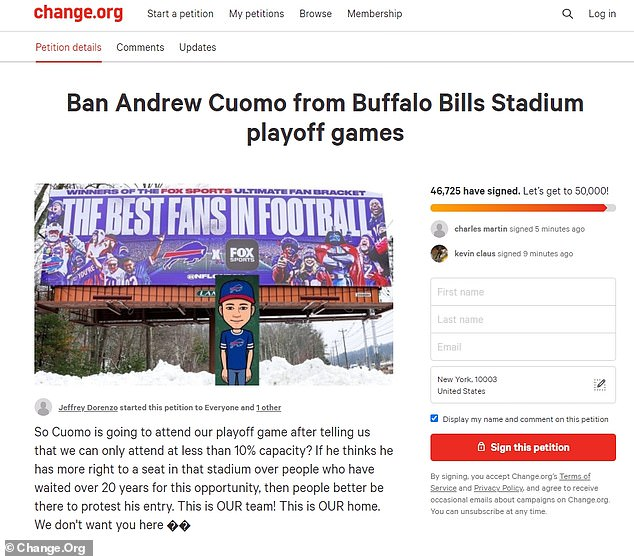 AndrewCuomo had planned on attending as well, but fans and New York residents who were upset about his pandemic regulations petitioned to have him banned from the game. Ultimately the change.org petition gained over 40,000 signatures