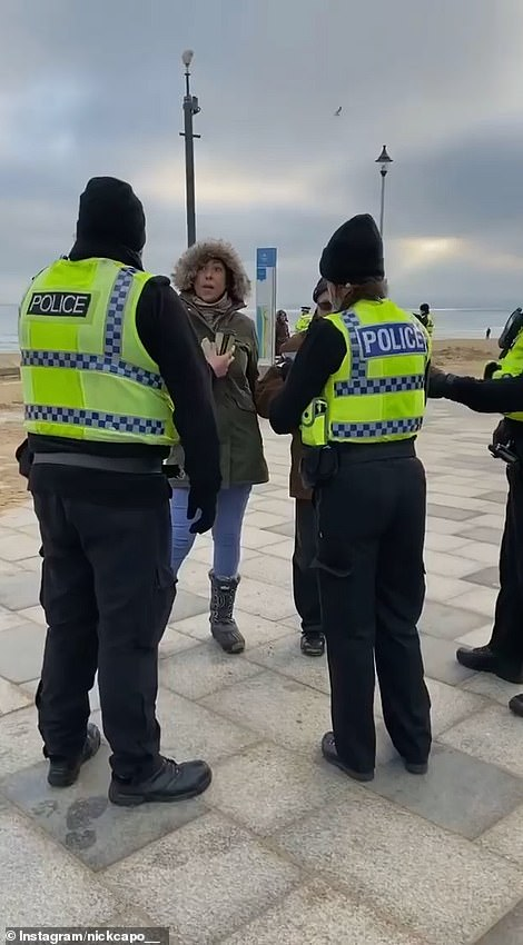 The new rules were on full show on Saturday when a woman was surrounded by three police who claimed she had left her house more than once