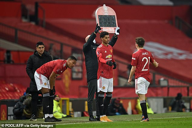 Daniel James and Mason Greenwood were replaced by Marcus Rashford and Anthony Martial in the second half