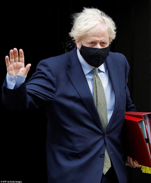 Prime Minister Boris Johnson (pictured) has set the target of offering vaccination to the UK¿s 15 million most vulnerable people by February 15. So far, almost 1.5million have received the vaccine
