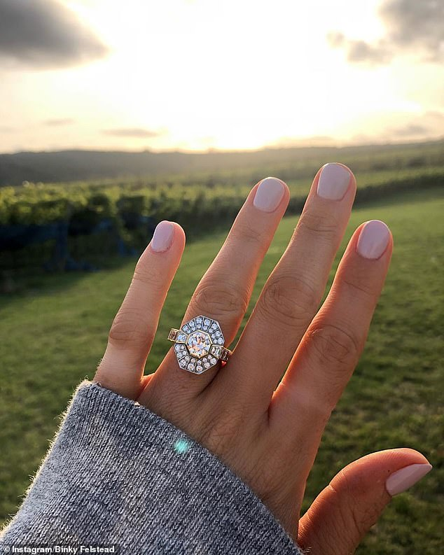 Good news:She revealed the news via Instagram as she shared a picture of her kissing the businessman while holding up her hand to show off the sparkling diamond ring