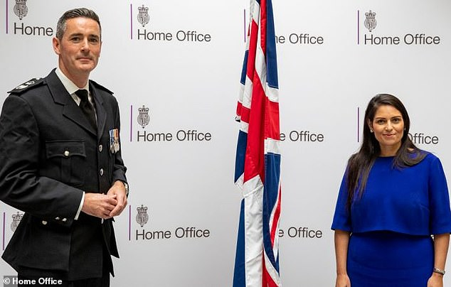 The command centre, which will see the British authorities collaborate with law enforcement in Calais, will be led by the government's small boats commander Dan O'Mahoney (left with the Home Secretary)