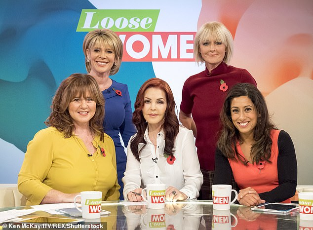 Honest: Saira said that the other Loose Women panellists have 'had their time' and that she didn't tell any of them she was leaving after five years on the show (pictured with Coleen Nolan, Ruth Langsford, Priscilla Presley, Jane Moore in 2015)
