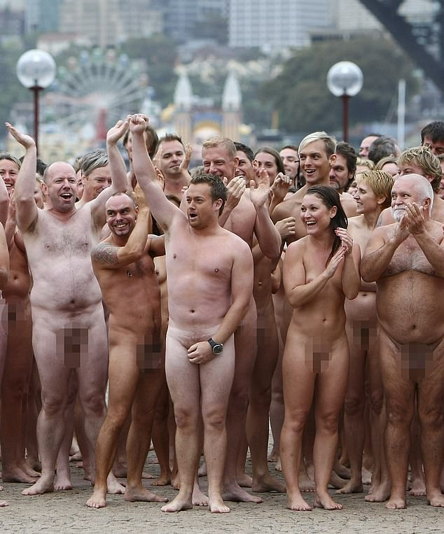 Naked ambition: Recalling the time he stripped naked live on air in 2010, Grant said he did it to get a rise out of the 'conservative' journalist. Grant posed for photographer Spencer Tunick, known for photographing massive crowds of nude people, at the Opera House (pictured)