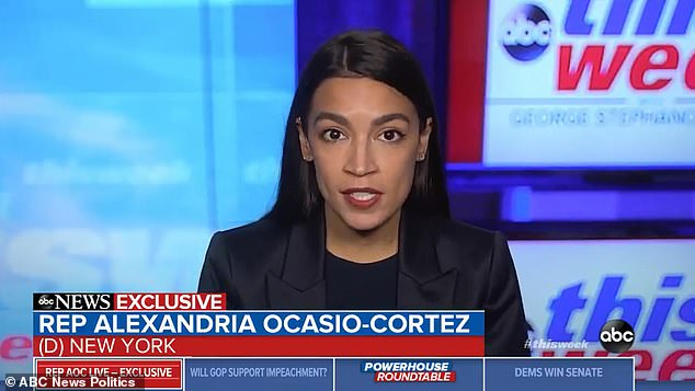 'Perhaps my colleagues were not fully present for the events on Wednesday, but we came close to half of the House nearly dying on Wednesday,' Alexandria Ocasio-Cortez said Sunday of the pro-Trump mob descending on the Capitol