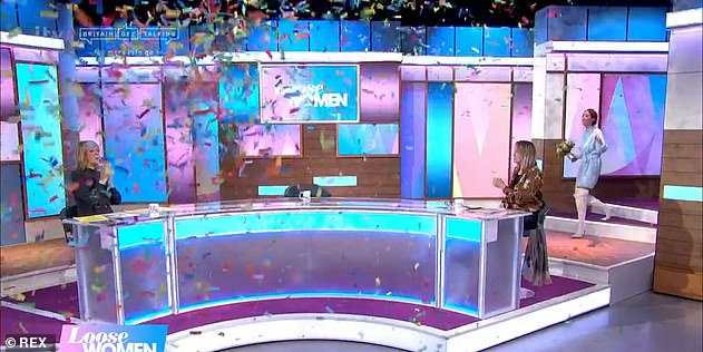 Welcome back!The TV star was greeted with confetti and bridal music as Jane Moore, Judi Love and Carol McGiffin welcomed her back to the panel
