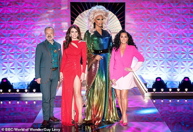 Dramatic scenes:It is thought that the hopeful reacted badly to being told they were at risk of being sent home and refused to take part in the lip sync battle (RuPaul is pictured with judges Graham Norton, Elizabeth Hurley and Michelle Visage)
