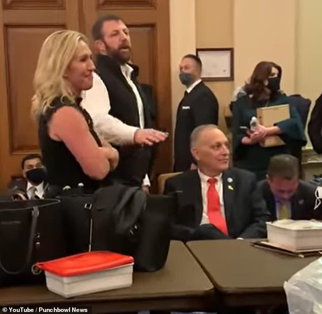 Lawmakers at the house who were brought to safety when a violent mob of Donald Trump supporters stormed the Capitol were filmed bickering over masks as they hid in a secure room.