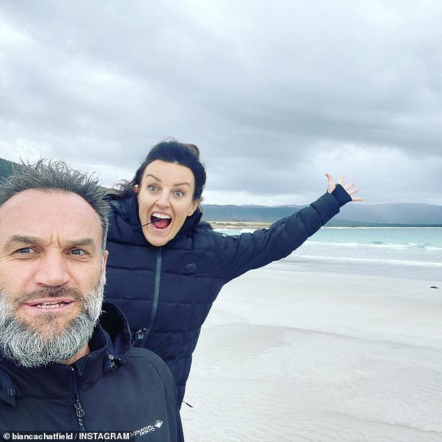 Happy couple: The pair, who live together in Melbourne's St Kilda, will celebrate their second anniversary of dating in April
