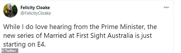 'Why is Boris addressing the nation at 8?' Some viewers claim they would prefer to watch Married At First Sight Australia than listen to the Prime Minister's address