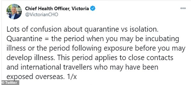 In a series of tweets, Mr Sutton explained that a mandatory two-week quarantine period is used as a precautionary measure (pictured)