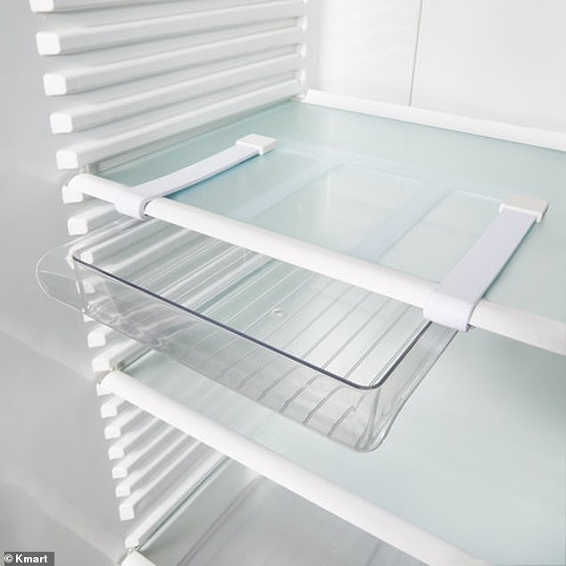 Made with nylon plastic and silicone materials, the drawer is designed with two long hooks that easily slide onto any fridge shelf