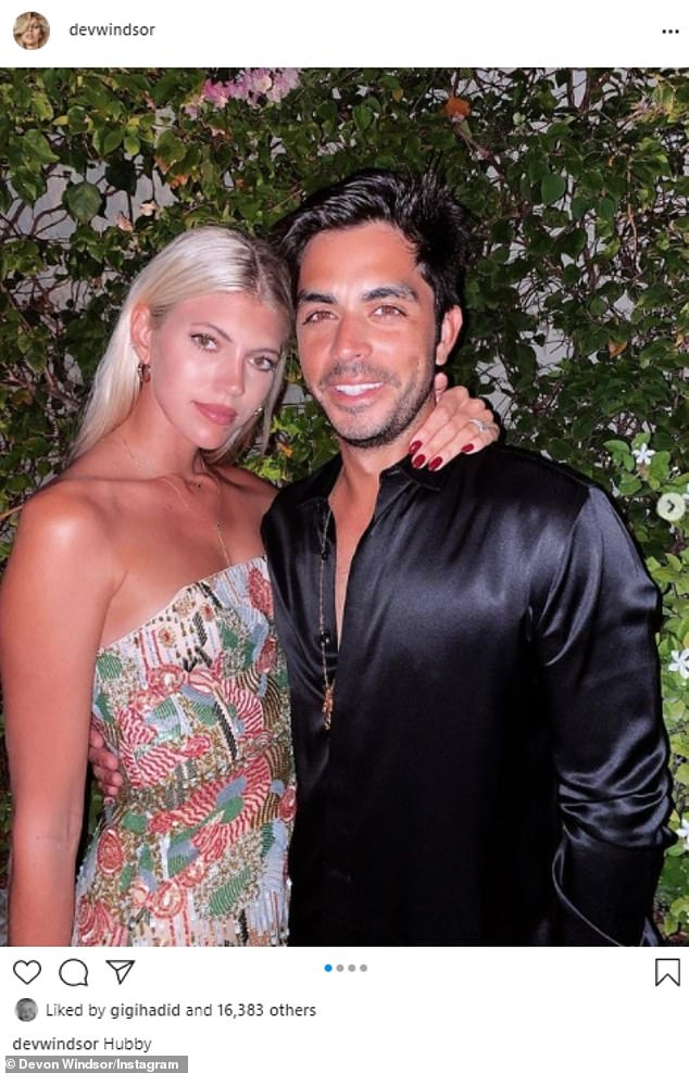 Couple: Devon appeared to be on a glam date night with her husband Jonathan Barbara. The married in November 2019 in a ceremony on the Caribbean island of St. Barts
