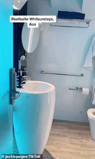 Each room below deck has a bed and ensuite bathroom (pictured) with a shower, toilet and sink