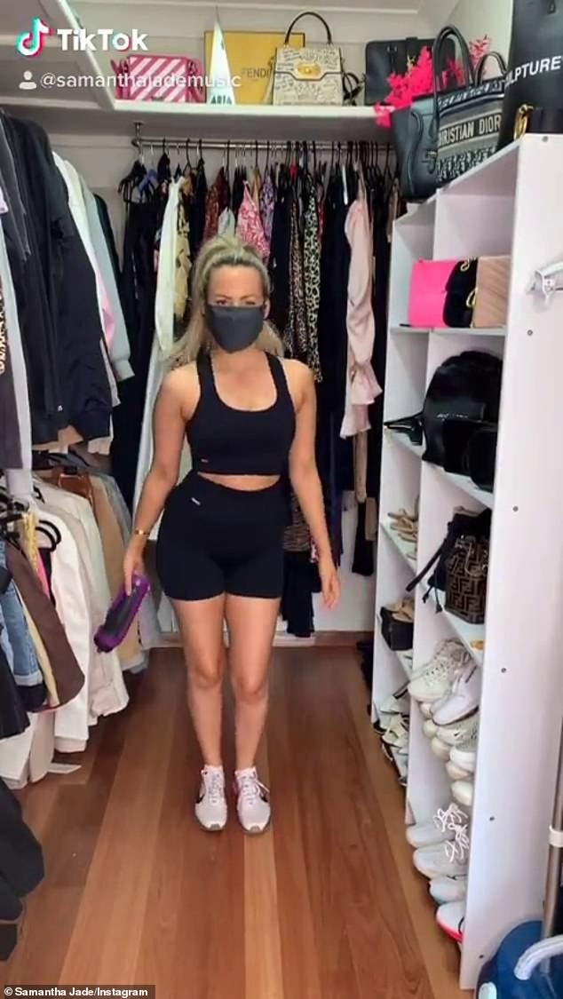 Ready to go! Her activewear outfit cost more than $300, with the sports bra retailing for between $45 to $80, the mid rise bottoms for $50, the Nike shoes from $80 to $370 and $16 for the bottle