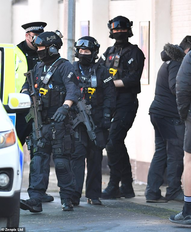 Tensions:During the scenes, armed police officers could be seen bursting inside the club as the actors filmed inside the venue, but the wedding appeared to go ahead