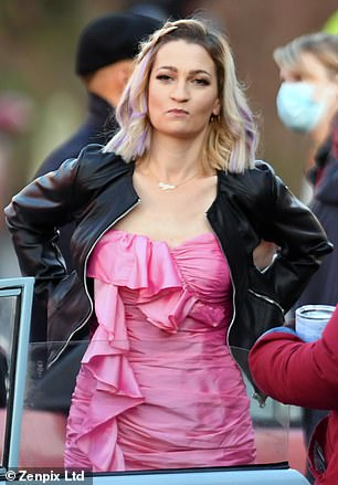 Pretty in pink:The actors were also joined by co-star Joanna Higson, who plays Sugar in the show, and an array of other stars