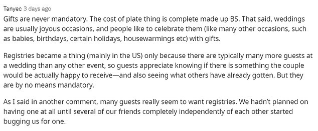 A stream of responses argued age shouldn't be a factor when deciding whether or not to give a wedding present