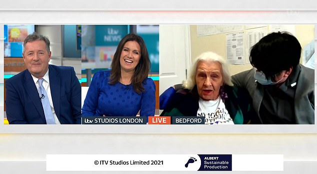 Hosts Piers Morgan and Susannah Reid (pictured left) tasked viewers with sending Norah as many cards as possible on her 100th birthday this week