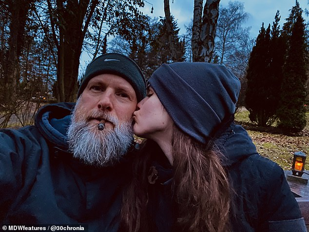 Jana and Peter pictured sharing a kiss. The couple claim they have never argued because they put a high value on communication, due to being in a long distance relationship