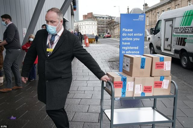 Supplies of a Covid-19 vaccine are delivered to the NHS vaccine centre that has been set up at the Centre for Life in Times Square, Newcastle