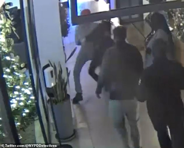 The NYPD released surveillance footage of Ponsetto tackling Keyon Jr to the ground in the lobby of the Arlo Hotel after she accused him of stealing her iPhone