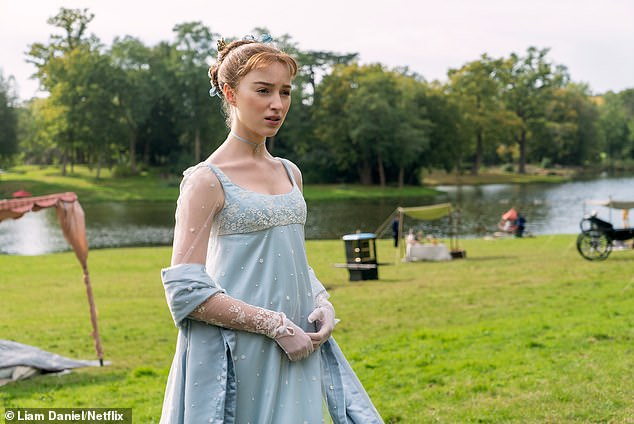 Lead role: The two stars are currently leaving the country embroiled in their TV projects with Bridgerton on Netflix (Phoebe pictured as Daphne Bridgerton) and The Serpent on BBC