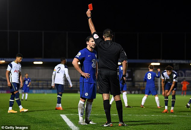 Danny Drinkwater sees red during Chelsea's under-23 game with Tottenham last month
