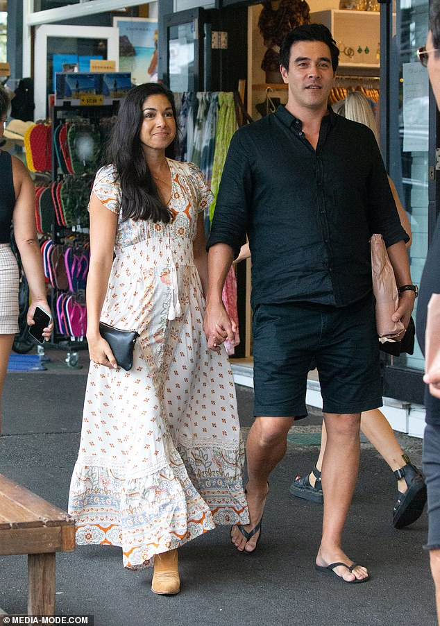 Lovebirds:Home and Away couple James Stewart, 45, and Sarah Roberts, 36, enjoyed some downtime in Byron Bay on Friday