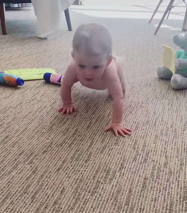 They see me crawling:On Monday, Jasmine revealed that Harper had just reached a major milestone on her way to walking - she has begun crawling