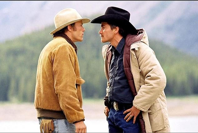 Jake Gyllenhaal and Heath Ledger played gay characters at Brokeback Mountain (pictured)