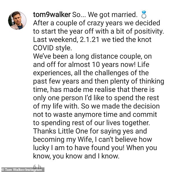 Wonderful news: Love Island star Tom Walker confirmed his marriage in a moving Instagram post on Monday evening