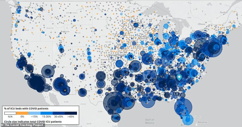A second map, however, paints a more alarming picture.It shows that COVID patients are disproportionately taking up ICU beds in many hospitals nationwide